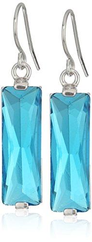 Sterling Silver Crystal Rectangle Drop Earrings