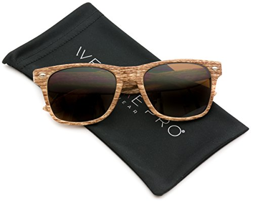 Faux Wood Reflective Revo Color Lens Horn Rimmed Sunglasses (Light Wood Print, - Wooden Glasses