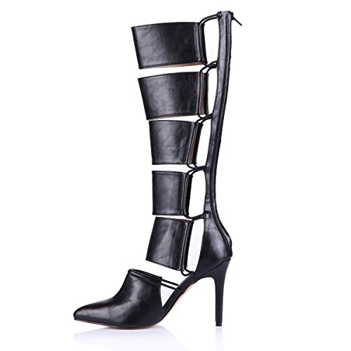Best Shoes 9 7CM Women's Hollowed Premium High Rubber Pointed PU Spring Heels Sole 4U Pumps toe Autumn rUaHxqr4