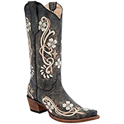 Circle G Women's Floral Embroidered Cowgirl Boot Snip Toe Black 9 M US