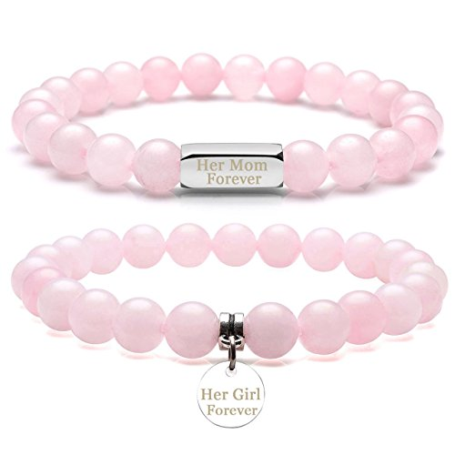 Top Plaza Customize Your Natural Gemstones Couple Lover His Queen Her King Bracelets - Chakra Reiki Healing Crystals Rose Quartz Elastic Bracelets For Personalized Name,Message Engraving