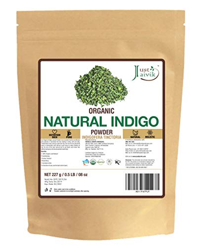 Just Jaivik 100% Natural Indigo Powder - 227 gms / 1/2 LB Pound / 08 Oz - Indigofera Tictoria- A 100% Natural Dye - Color your hair dark brown to - Henna Your Hair