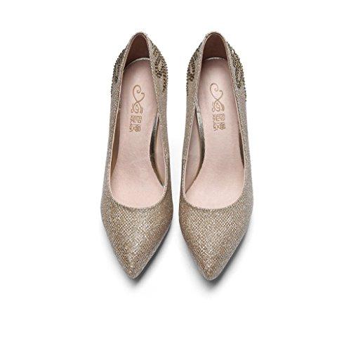 wysm Strass Seule Chaussures Pointu Forme Mariage à Plate Or Stiletto Imperméable L'Eau Wysm Femelle 5TAnFxq