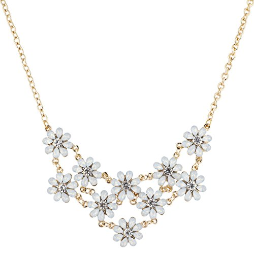 Lux Accessories Gold Tone White Crystal Rhinestone Flower Statement Necklace