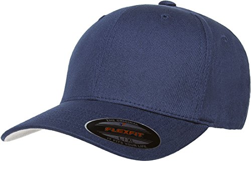 Cotton Stretch Logo Hat - Blank V-Flexfit Cotton Twill Fitted Baseball Hat | Stretch Fit, Athletic Ballcap w/Hat Liner L/XL Navy