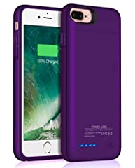 JUBOTY Iphone 7 Plus/6 Plus/6S Plus Rechargable Battery Case Charger Specifications: Dimesions:6.30 x 3.15 x 0.51 inches Slim,litheweight and compact design for portability. Easy access to all ports,switches and buttons. Rechargable battery p...