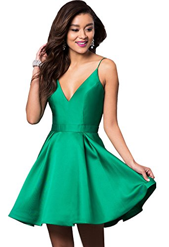 (Beauty Bridal Women's V Neck Satin Homecoming Prom Dresses for Juniors Knee Lenth 2018 Evening Party Ball Gown J66 (10,Green))