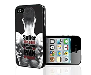 """Black, White, and Red """"Suffer the Pain of Discipline, or Suffer the Pain of Regret"""" Men's Fitness Inspiration Hard Snap on Phone Case (iPhone 5/5s)"""