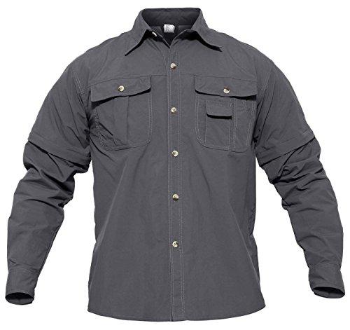 Nylon Ripstop Tactical Shirt - CRYSULLY Men's Fast Drying Hiking Shirts Breathable Convertible Long Sleeve Rip-Stop Tactical Shirt Outdoor Shirt Gray