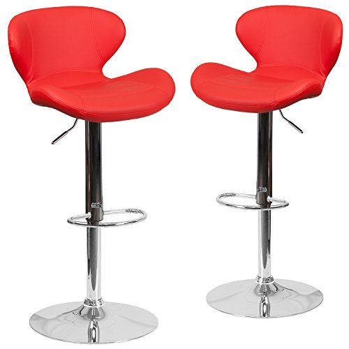 Flash Furniture 2 Pk. Contemporary Red Vinyl Adjustable Height Barstool with Chrome ()
