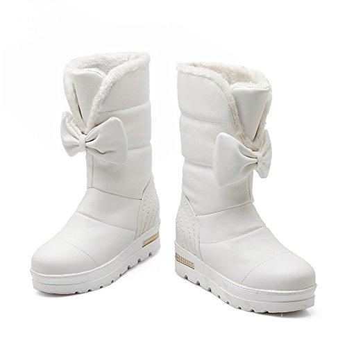 AgooLar Women's Soft Material Round Closed Toe Kitten Heels Pull On Solid Boots White p2kMvIjG