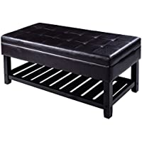 Giantex Storage Bench Shoe Rack Ottoman Organizer Entryway Furniture PU Leather