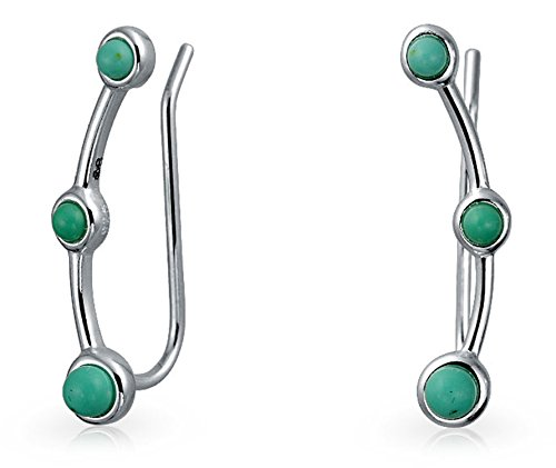 (Enhanced 3 Stone Turquoise Sterling Silver Ear Crawler Pin Earrings)