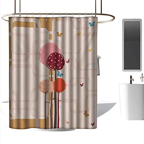 Shower Curtains Liner Fabric Retro,Colorful Trees and Butterflies Round Edged Squares Funky Spring,Ruby Dried Rose Amber Scarlet,W72 x L72,Shower Curtain for Shower -
