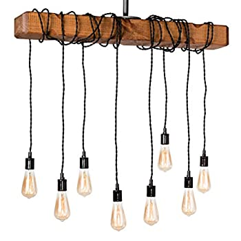 Farmhouse Lighting Wrapped Wood Beam Farmhouse Chandelier Pendant Light Fixture - Rustic Lighting Great for Kitchen Island Lighting, Dining Room, Bar, Industrial, and Billiard or Pool Table