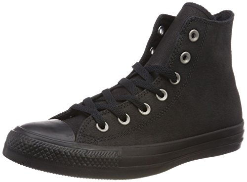 Unisex Black Converse Hi Black Leather Nero Chuck da Taylor Scarpe Bambini Fitness Ctas – Black 001 grx8g6