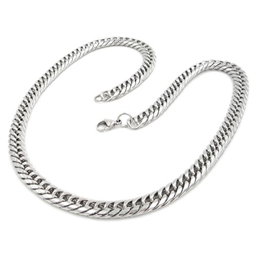 Stainless Steel Double Link Curb Chain Necklace 8mm - Round Chain Double Link