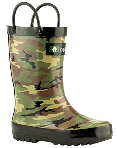 Oakiwear Kids Waterproof Rubber Rain Boots with Easy-on Handles Army Camo