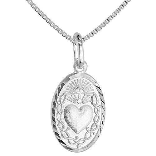 Small Sterling Silver Sacred Heart of Jesus Medal Necklace 5/8 inch Oval Italy 18 inch Box_015 Heart Medal Pendant Necklace