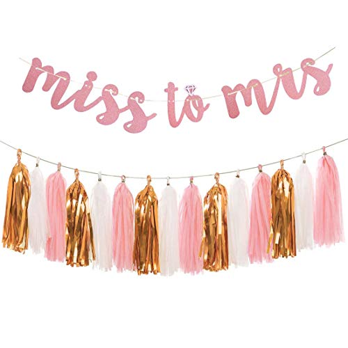 Rose Gold Bachelorette Party Decorations - Glittery Letters MISS TO MRS Banner, Tissue Paper Tassels Garland Set for Engagement Party Bridal Shower Decorations Supplies