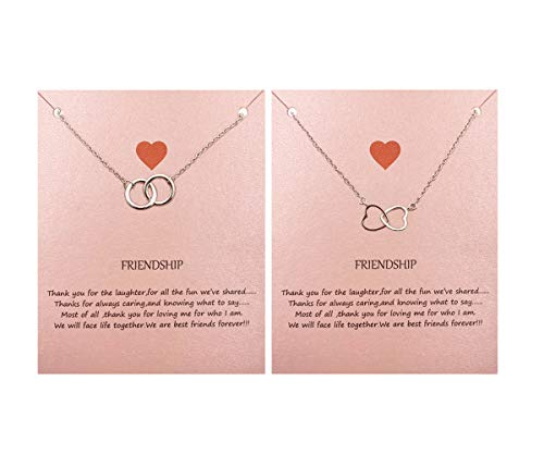 Your Always Charm Double Circle Knot Necklace,Two Interlocking Infinity Circles Gift for Best Friend (2 Silver Necklace)