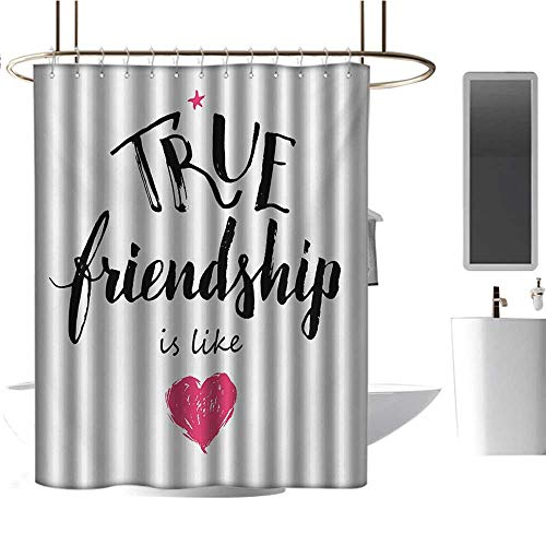 (TimBeve Waterproof Fabric Shower Curtain Quote,True Friendship is Like Lettering Completed by Pink Scribbled Heart Icon,Black White and Pink,Clear Metal Thick Bathroom Shower Curtains 54