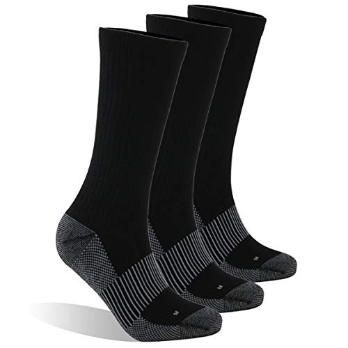 Dsource Unisex Running Socks Arch Support Breathable Crew Copper Infused Socks 3 Pairs Black ()