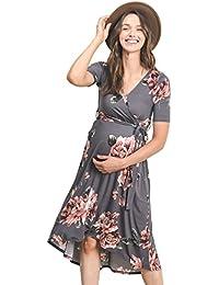 db2dba18b5f Women s High-Low Surplice Wrap Maternity Dress with Waist Belt
