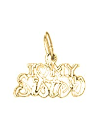 Yellow Gold-plated 925 Silver 12mm I Love My Sister Pendant Necklace