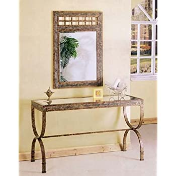 2pc Entry Way Console Table U0026 Mirror Set Brown Metal Frame