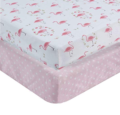 Crib Top Sheet Baby Bedding - 100% Cotton Crib Sheets Top Quality Nursery Bedding for Girl 2 Pack Soft Baby Shower Gift with Pink Flamingo and Stars