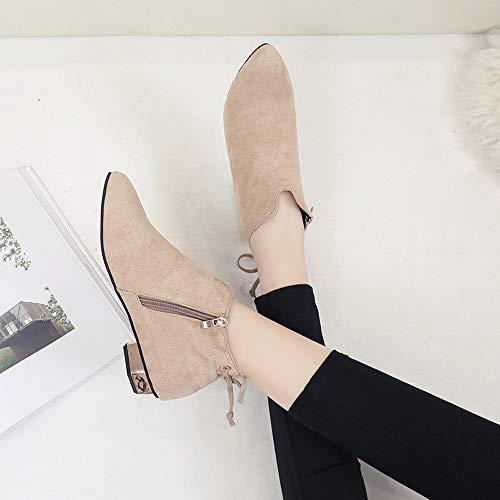 Rawdah Invierno Gamuza Plataforma De Con Punta Khaiki Para Único Bajo Mujer Tacón Zapatos Estrecha Botas Botines Arco Cremallera qErAwE