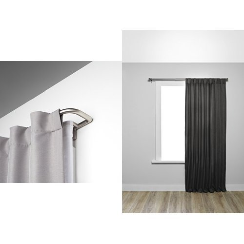 Umbra Twilight Room Darkening Double Curtain Rod in Nickel and Two Kensington Black-Out Curtain Panels inMidnight