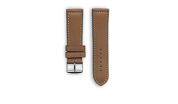 Deportes francés piel con bordado de color blanco: marrón de repuesto correa de reloj - correa de reloj para Samsung Gear S3 - Apple reloj inteligente ...
