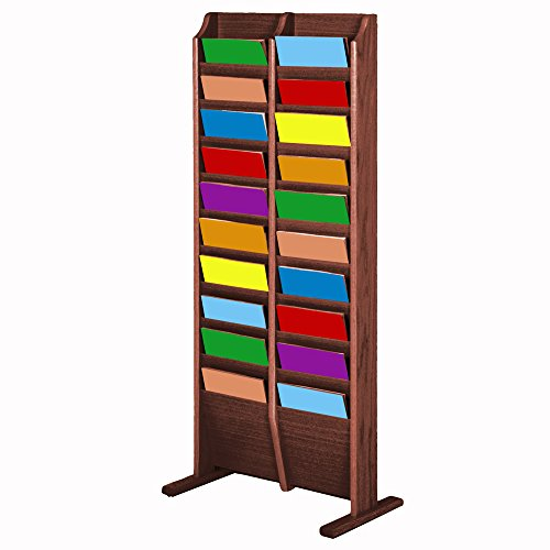 Wooden Mallet 20 Pocket Cascade Free-Standing Magazine Display Rack, Mahogany