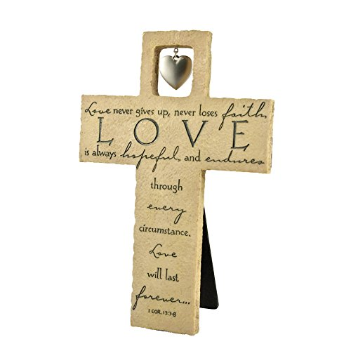 (Lighthouse Christian Products Love is with Heart Charm Wall/Desktop Cross, 6 1/2 x 9)
