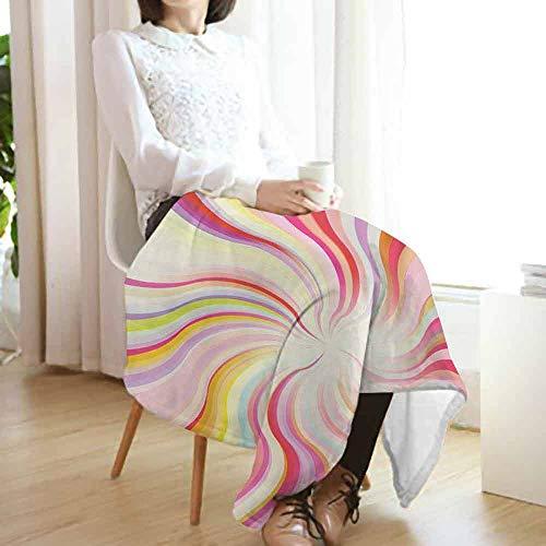vanfan-home Pastel Flannel Fleece Blanket,Abstract Sunburst Design Wavy Lines Sixties Seventies Style Psychedelic Retro Rays Lightweight Blanket for Couch(50