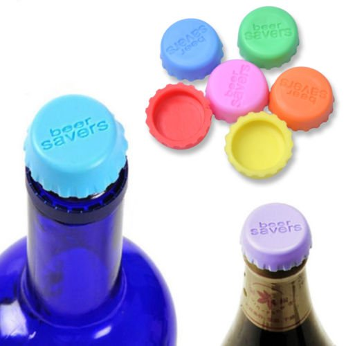 6pcs Reusable Silicone Bottle Caps Beer Cover Soda Cola Lid Wine Saver Stoppe/>