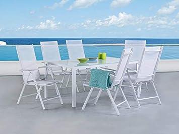 Beliani Gartenmöbel Set Aluminium weiß 160 x 90 cm 6-Sitzer Catania ...
