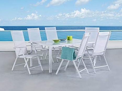 Beliani Gartenmöbel Set Aluminium weiß 160 x 90 cm 6-Sitzer Catania