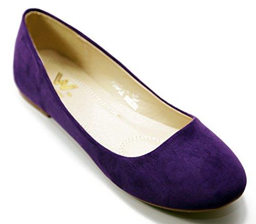 Purple Flat Walstar Ballet Women Shoes Walstar Suede Women Suede XZPwqxO00