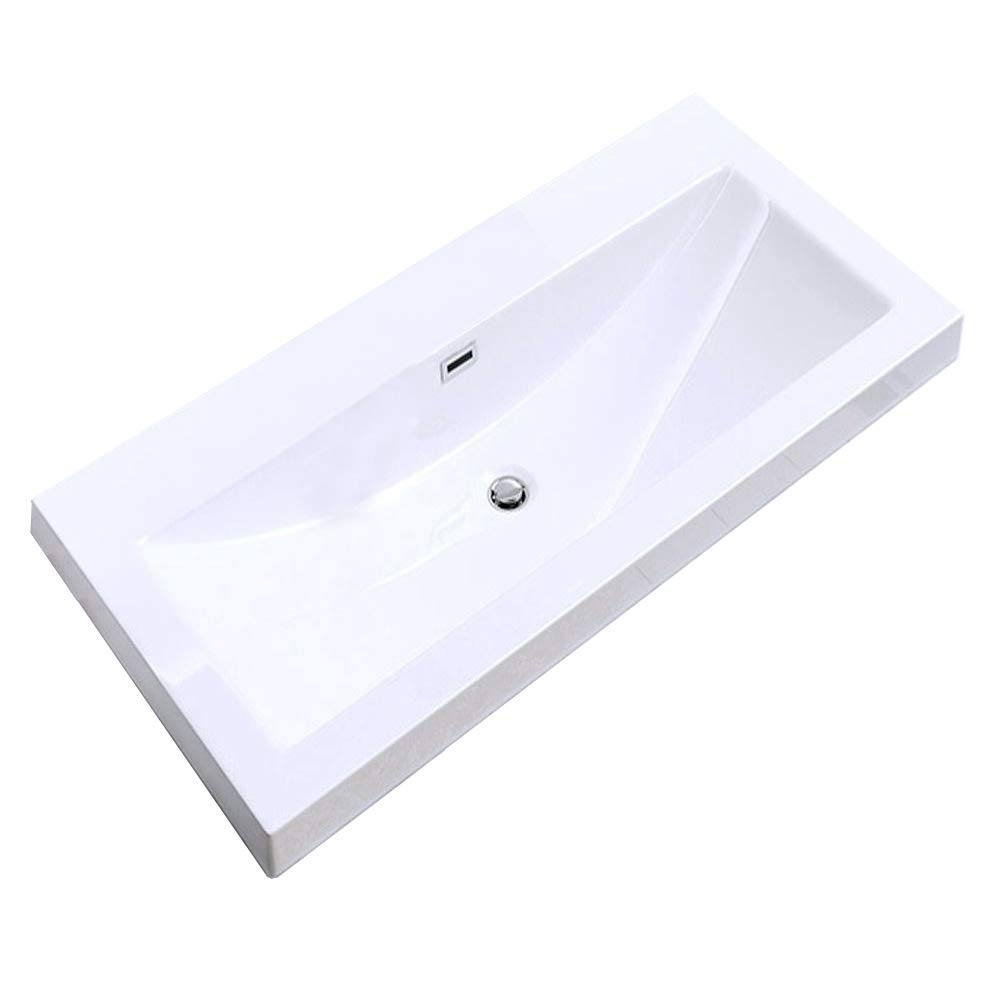 Durovin Bathrooms Luxurious Cast Stone Wash Basin | Self Rimming Drop In Sink | Semi Recessed | One Tap Hole With Overflow
