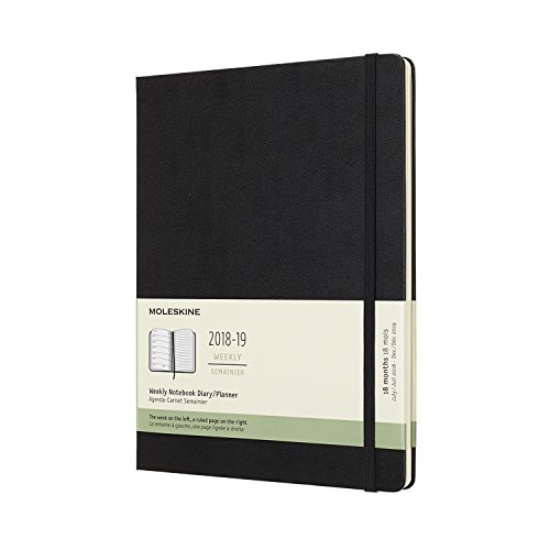 18M Weekly Notebook, Extra Large, Weekly Notebook, Hard Black, Hard Cover (7.5 x 9.75) ()