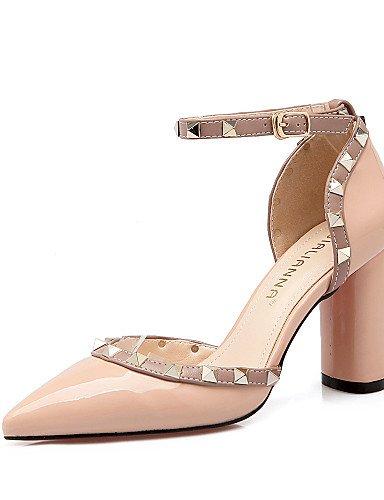 LFNLYX Zapatos de mujer-Tacón Robusto-Tacones / Puntiagudos / Punta Cerrada-Sandalias-Vestido-Semicuero-Negro / Amarillo / Rosa / Rojo / Gris gray