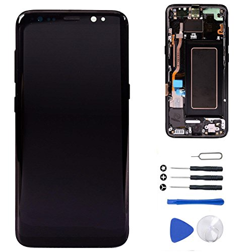 "[S8 Plus Midnight Black with Frame] LCD Display Touch Screen Digitizer Replacement + Tools for Samsung Galaxy S8+ Plus 6.2"" G955U G955F G955A G955P G955V G955T (Plus Black Frame)"