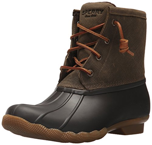 Sperry Women's Saltwater Rain Boot, Brown/Olive, 7 M US