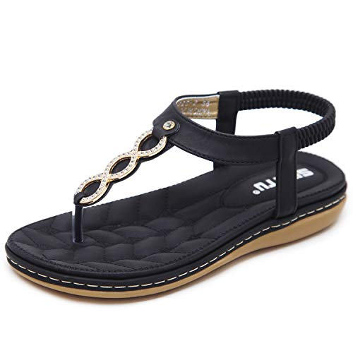 (DolphinBanana Women's Glitter Rhinestone T-Strap Summer Simple Gold Rings Flat Thong Sandals, Black Blingbling Flip Flops Shiny Gem Shoes for Dressy Casual Jeans Daily Wear and Beach Vacation)