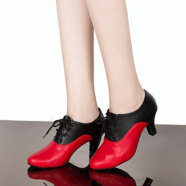 negro Claqué black Personalizables Moderno Tacón Zapatos Salsa baile red Latino de Rojo Personalizado qtwffXxTB
