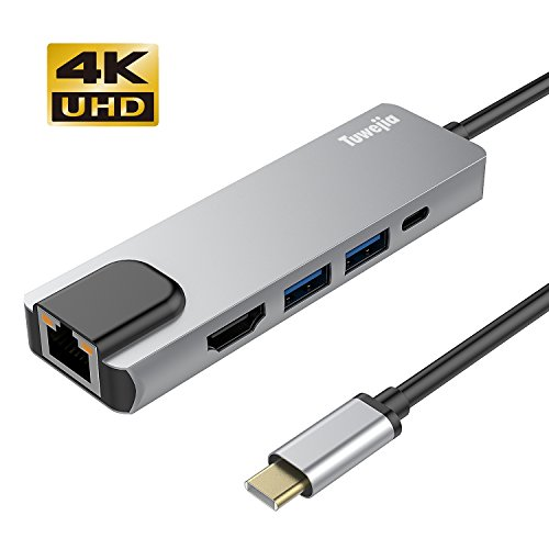 USB C Hub Multiport Adapter with 4kHDMI Output, 1000M RJ45 Gigabit Ethernet, 2USB3.0 Ports,60W Power Delivery, 5-in-1 USB C Network Adapter for MacBook Pro & Type C Windows Laptops