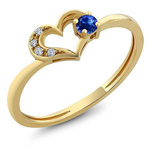 Diamond & Sapphire Heart Ring - 6
